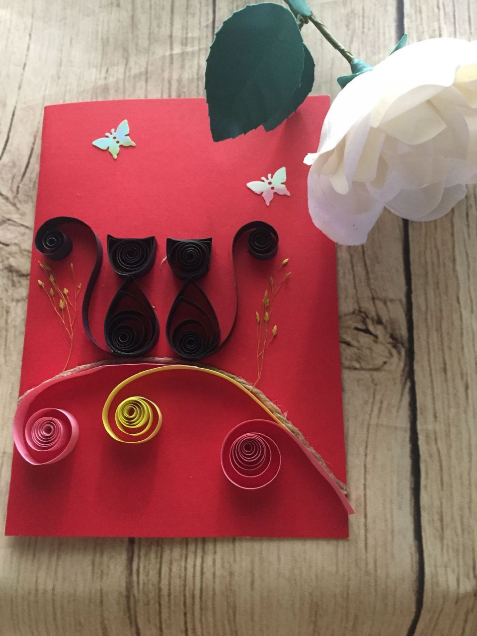 Thiệp quilling Cat
